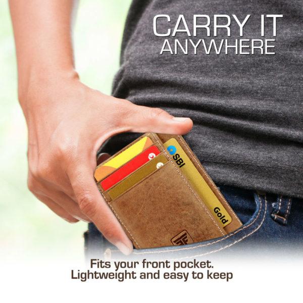 Fashion Freak slim wallet card holder for men brown